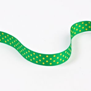 Racing Green Grosgrain SPOTTY Ribbon 16mm x 91.4m spool